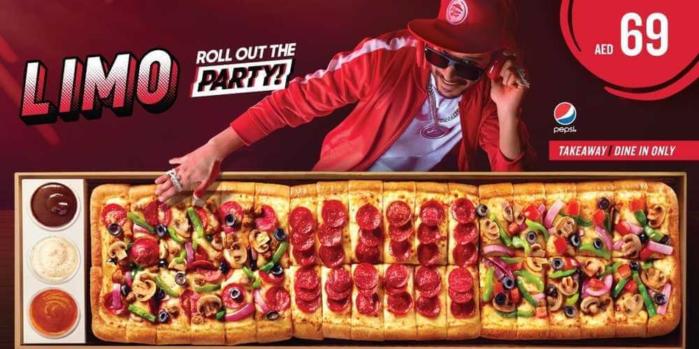 pizzahut uae offers, limo pizza, one meter pizza